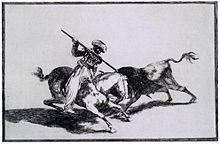 Historischer Stich mit der Darstellung eines Stierkampfes mit einem Torero zu Pferd der seine Lanze in den Nacken des Stieres sticht.