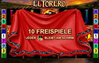 Hinweistext bei El Torero - Bei Freispielen bleiben die Matador Icons auf dem Schirm